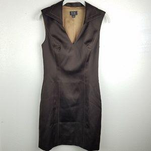 BCBGMAXAZRIA Brown Body Con Career V-neck Dress
